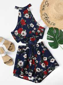 Knot Back Floral Halter Top With Shorts