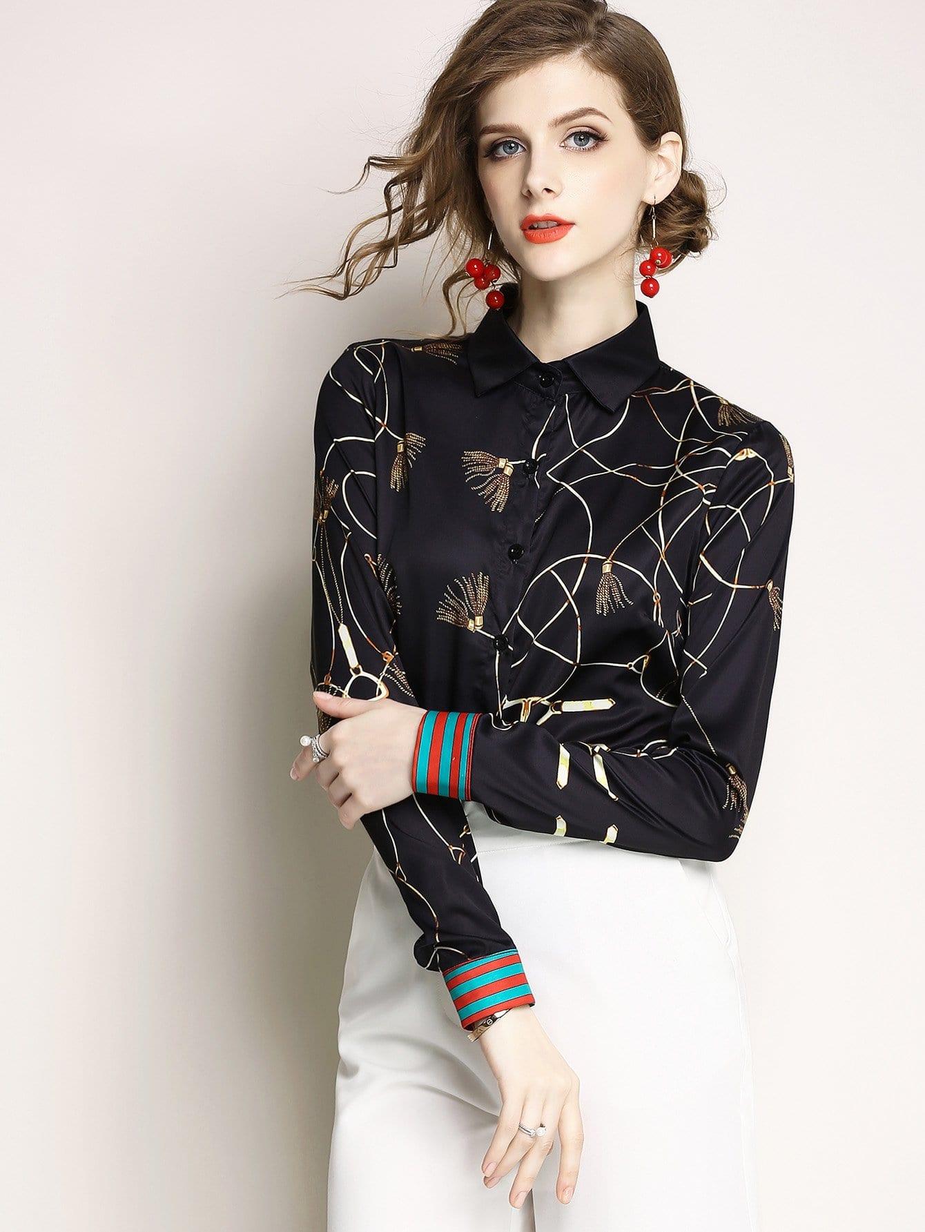 Купить Полосатая контрастная графическая печатная рубашка, null, SheIn