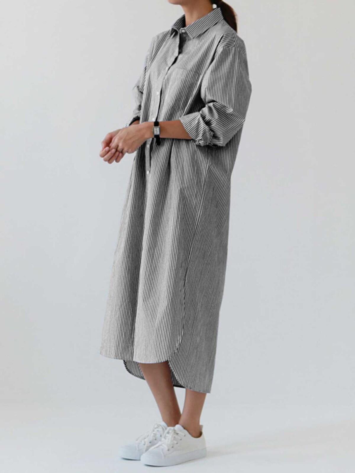 細直條紋的 流線型 襯衫洋裝