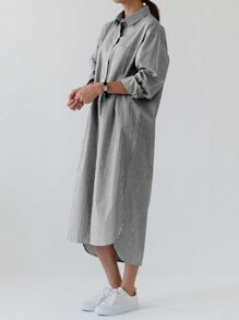 Pinstripe Longline Shirt Dress