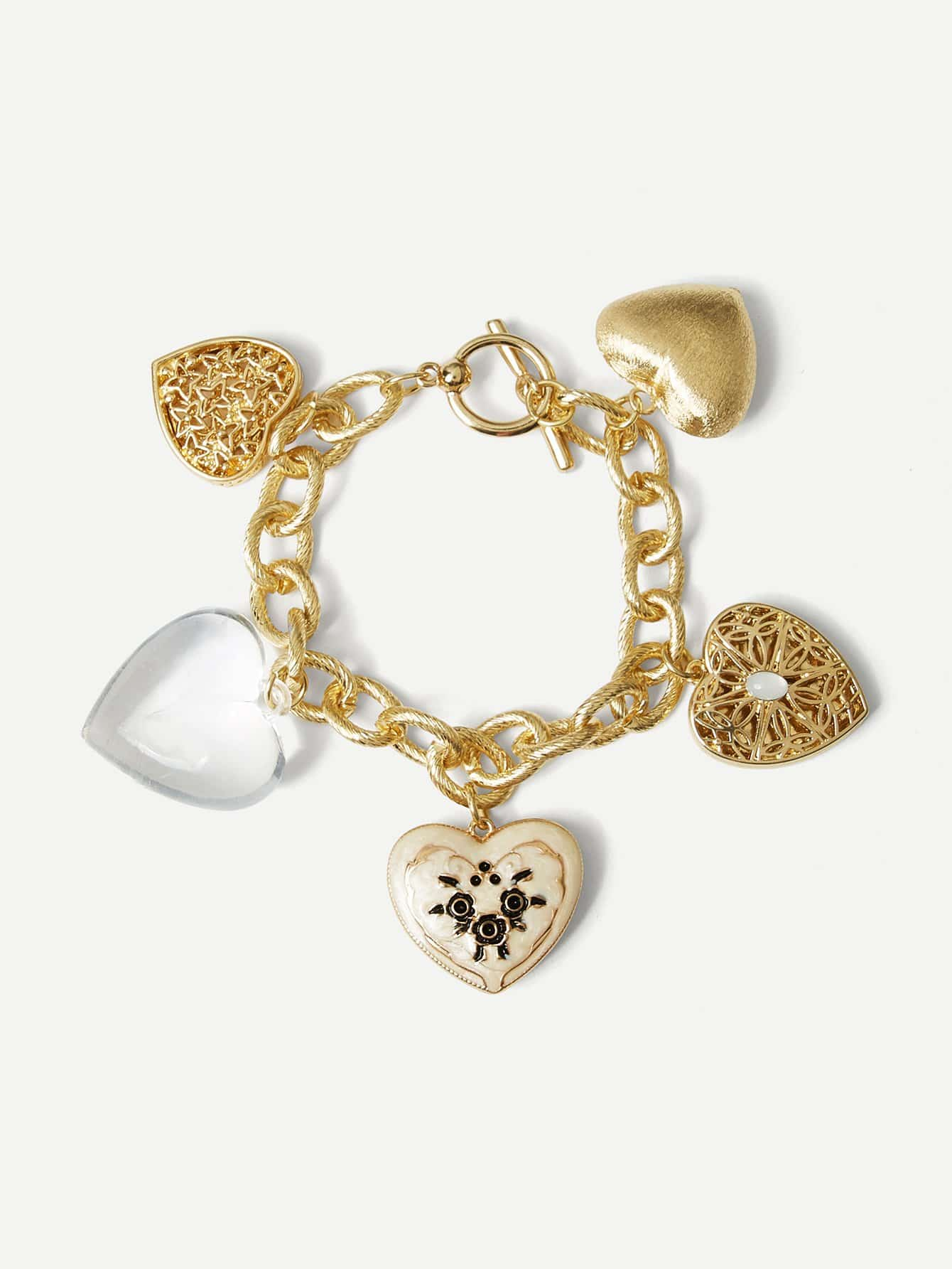 Heart Decorated Chain Bracelet schwinn streamliner 2 womens 2015 white
