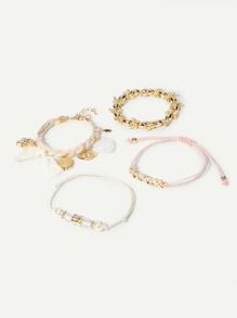 Butterfly & Letter Detail Bracelet Set 4pcs