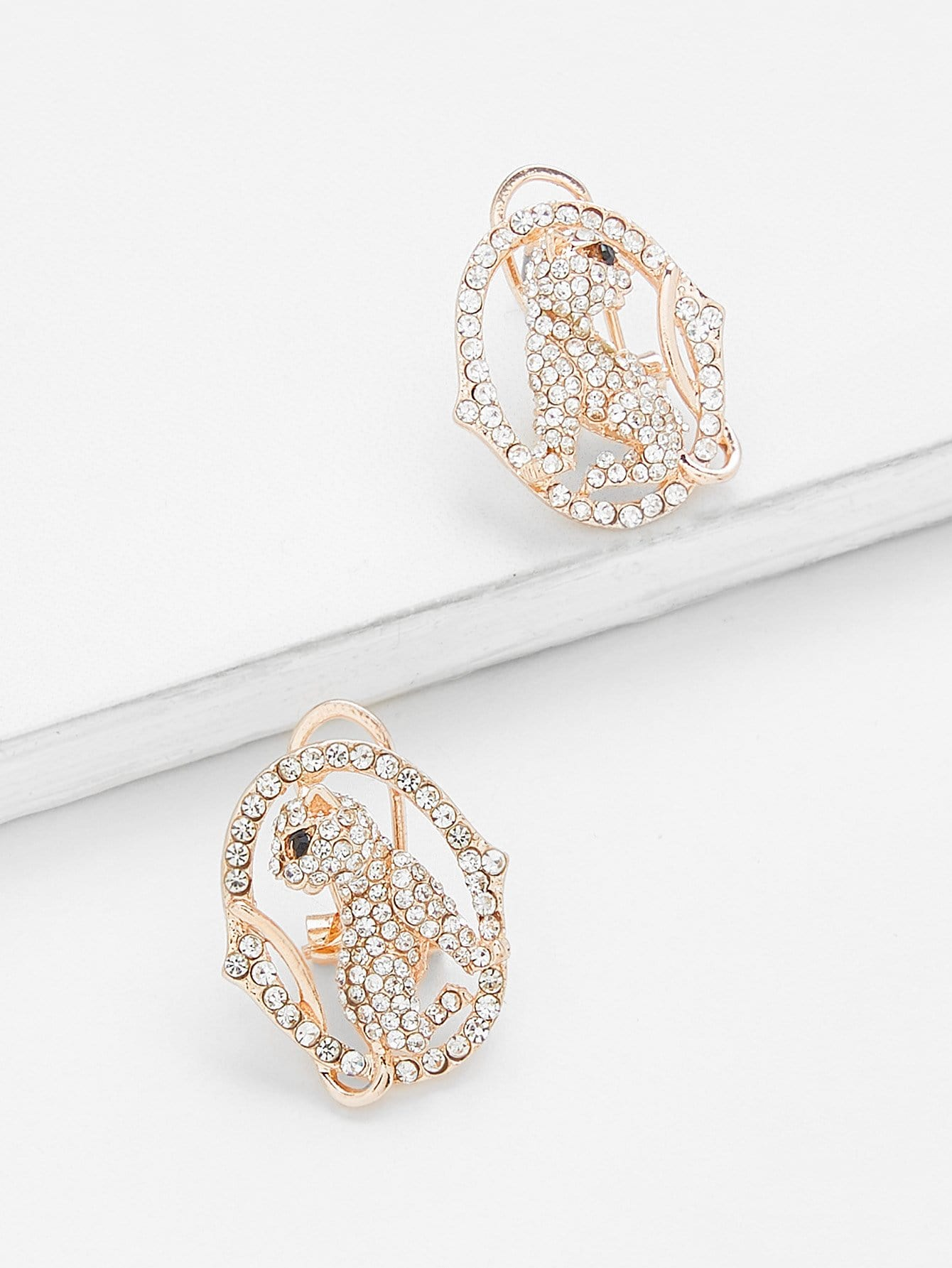 Rhinestone Cat Design Hollow Stud Earrings