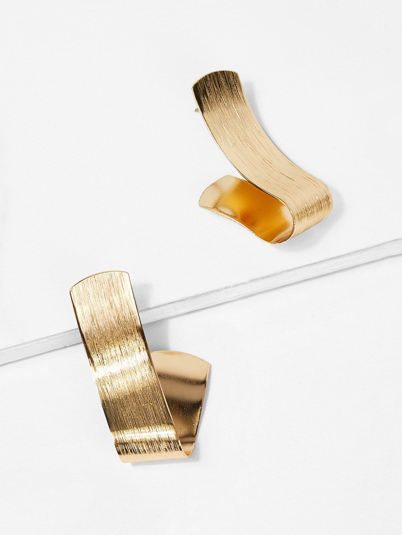 Купить Асимметричные короткие металлические серьги, null, SheIn