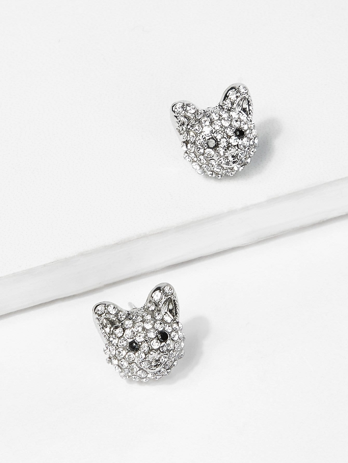 Fox Head Rhinestone Stud Earrings fox head rhinestone stud earrings
