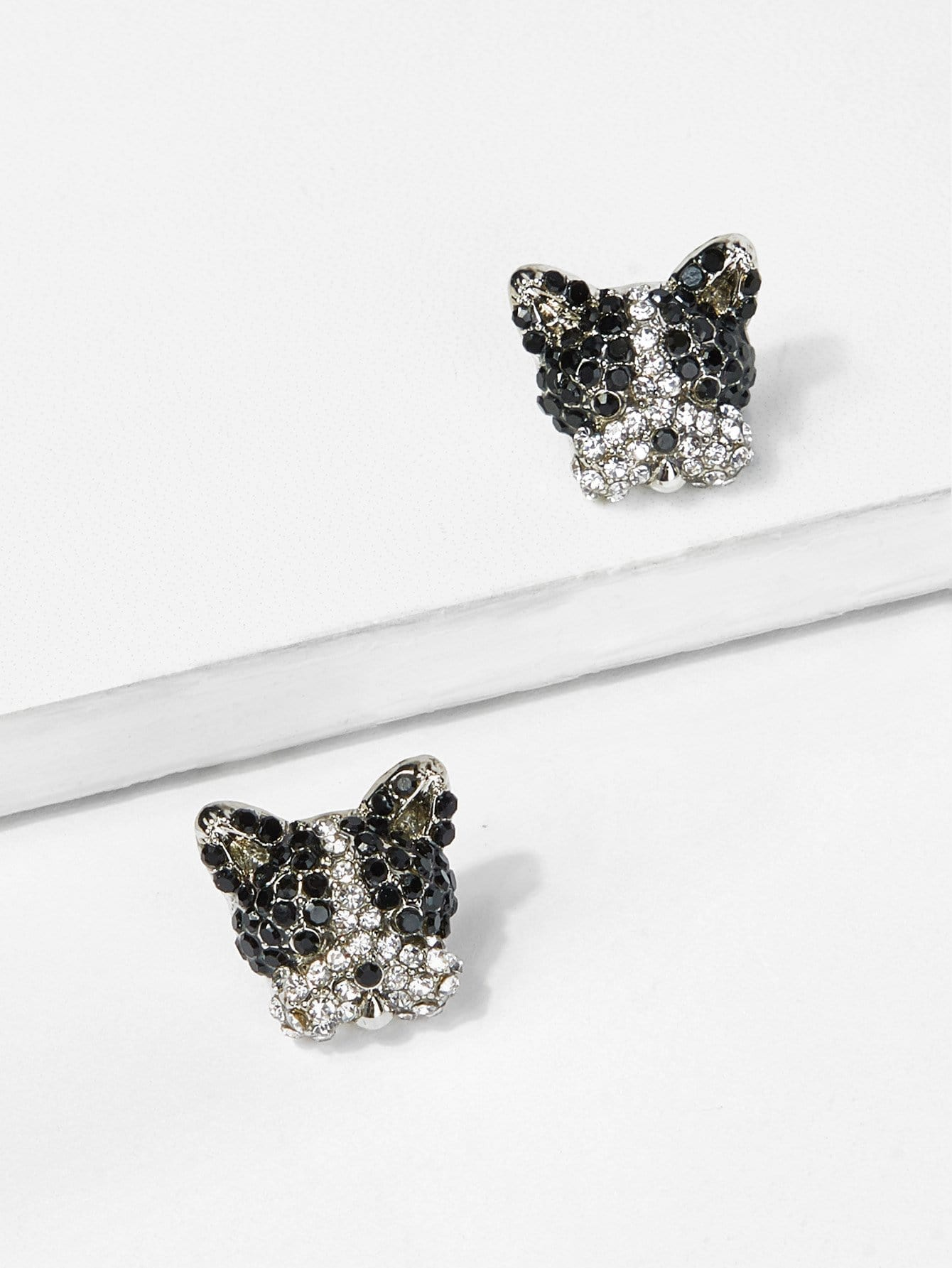 Dog Head Rhinestone Stud Earrings fox head rhinestone stud earrings
