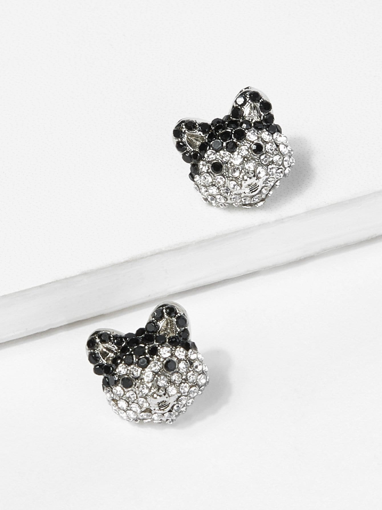 Bear Head Rhinestone Stud Earrings fox head rhinestone stud earrings