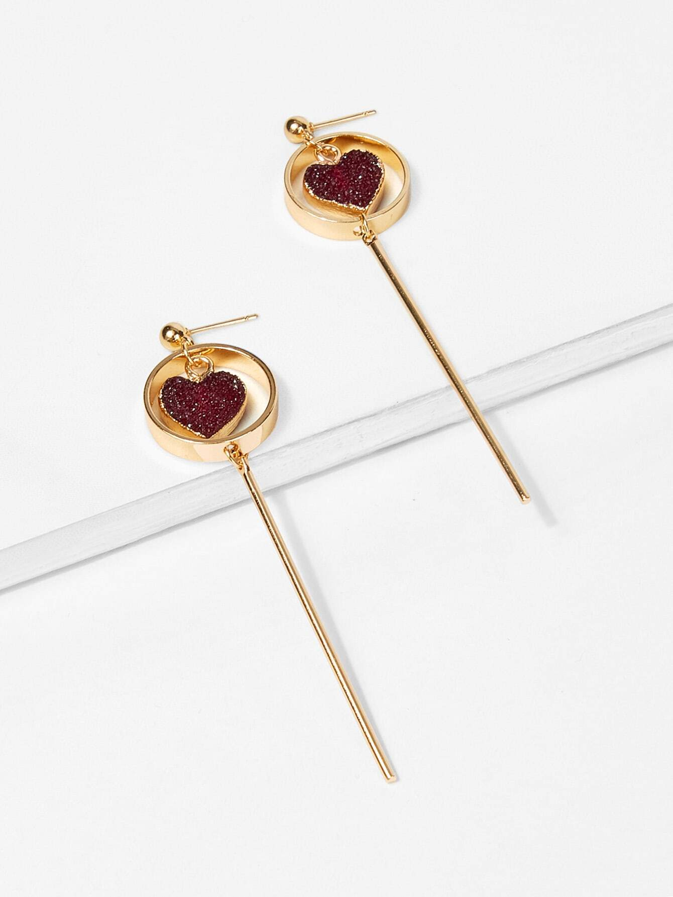 Heart & Bar Detail Hoop Drop Earrings silver plated bar dangle drop earrings