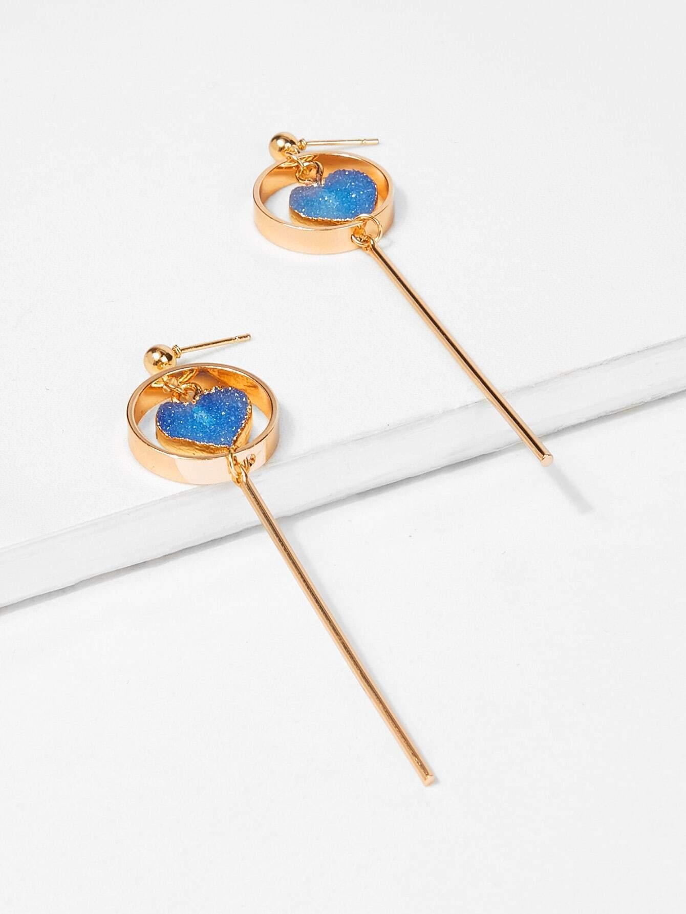 Heart & Bar Detail Hoop Drop Earrings bow detail hoop drop earrings