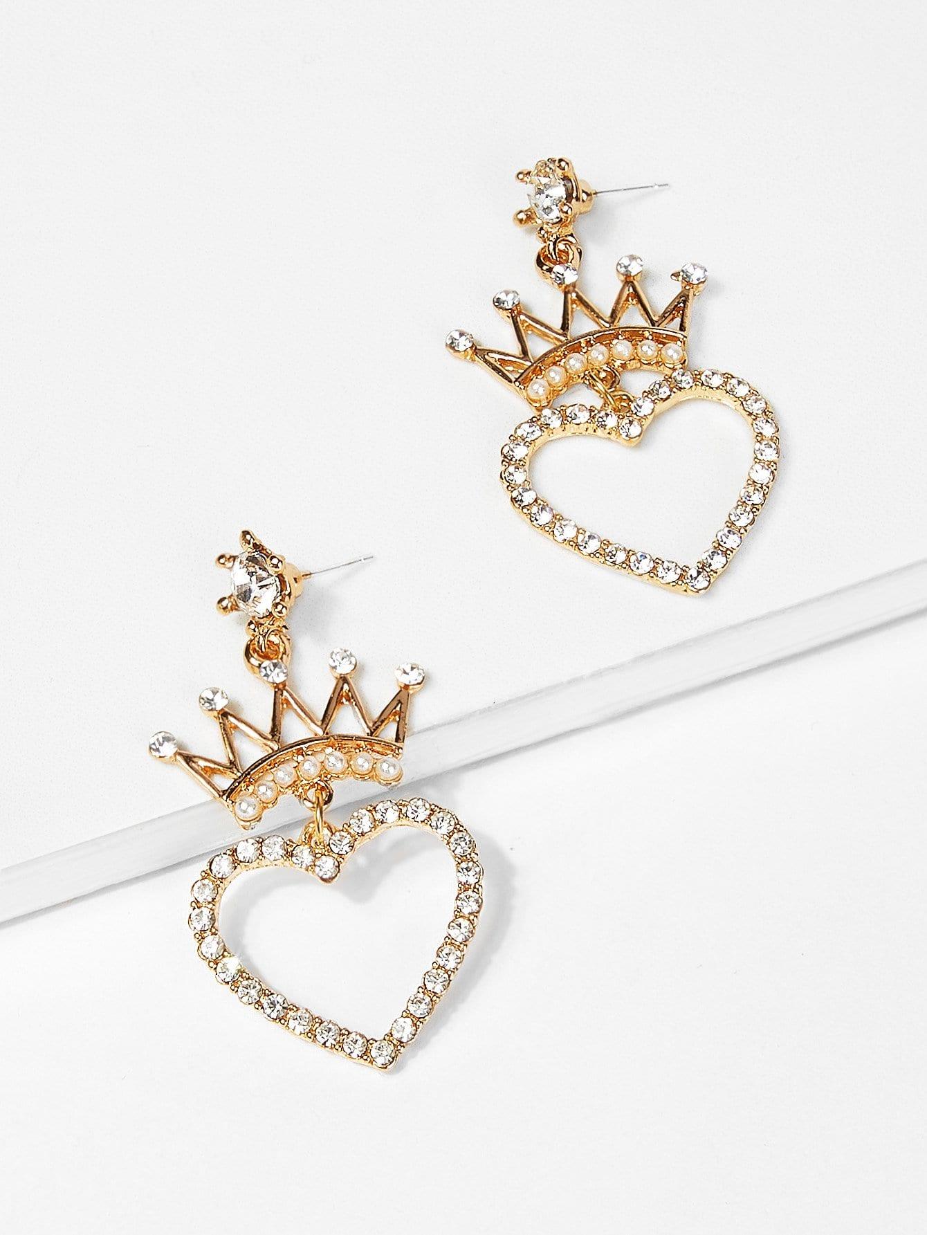 Crown & Open Heart Design Drop Earrings open heart design ring
