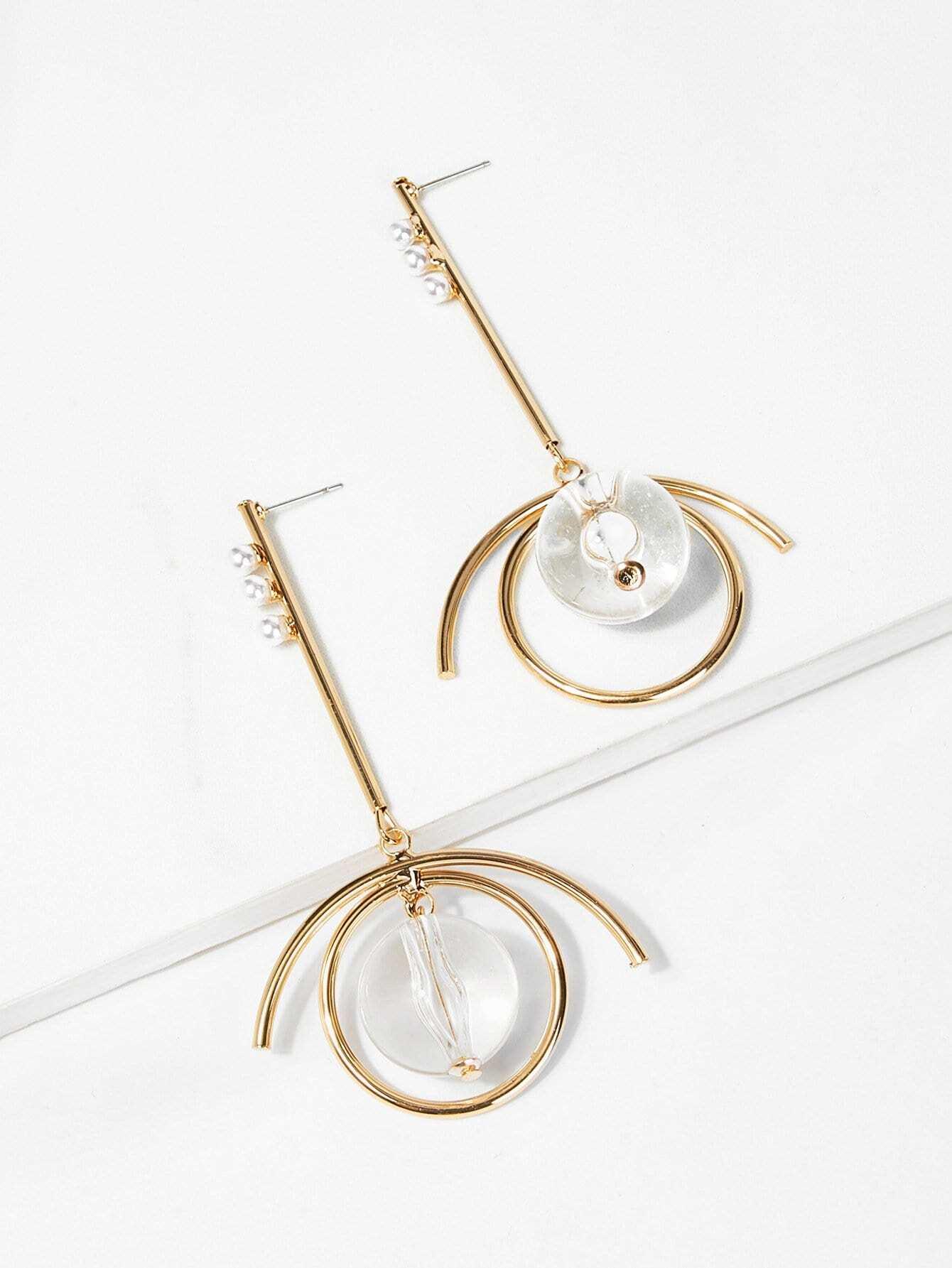 Bar & Ball Design Hoop Drop Earrings silver plated bar dangle drop earrings