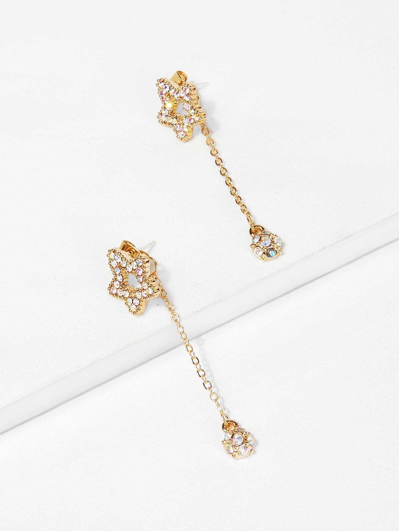 Open Star Design Rhinestone Drop Earrings open irregular ring design earrings