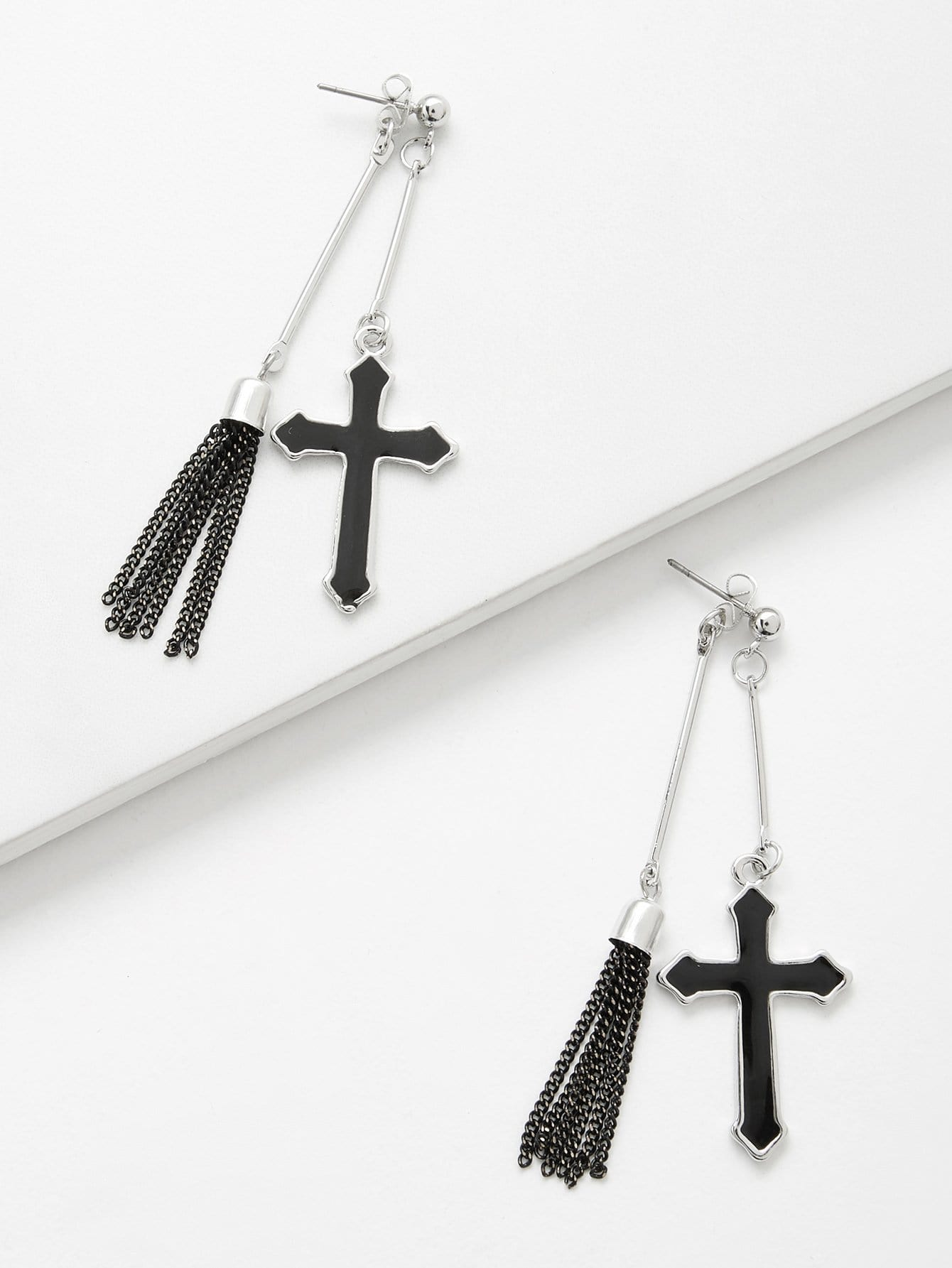 Cross & Bar Detail Drop Earrings silver plated bar dangle drop earrings