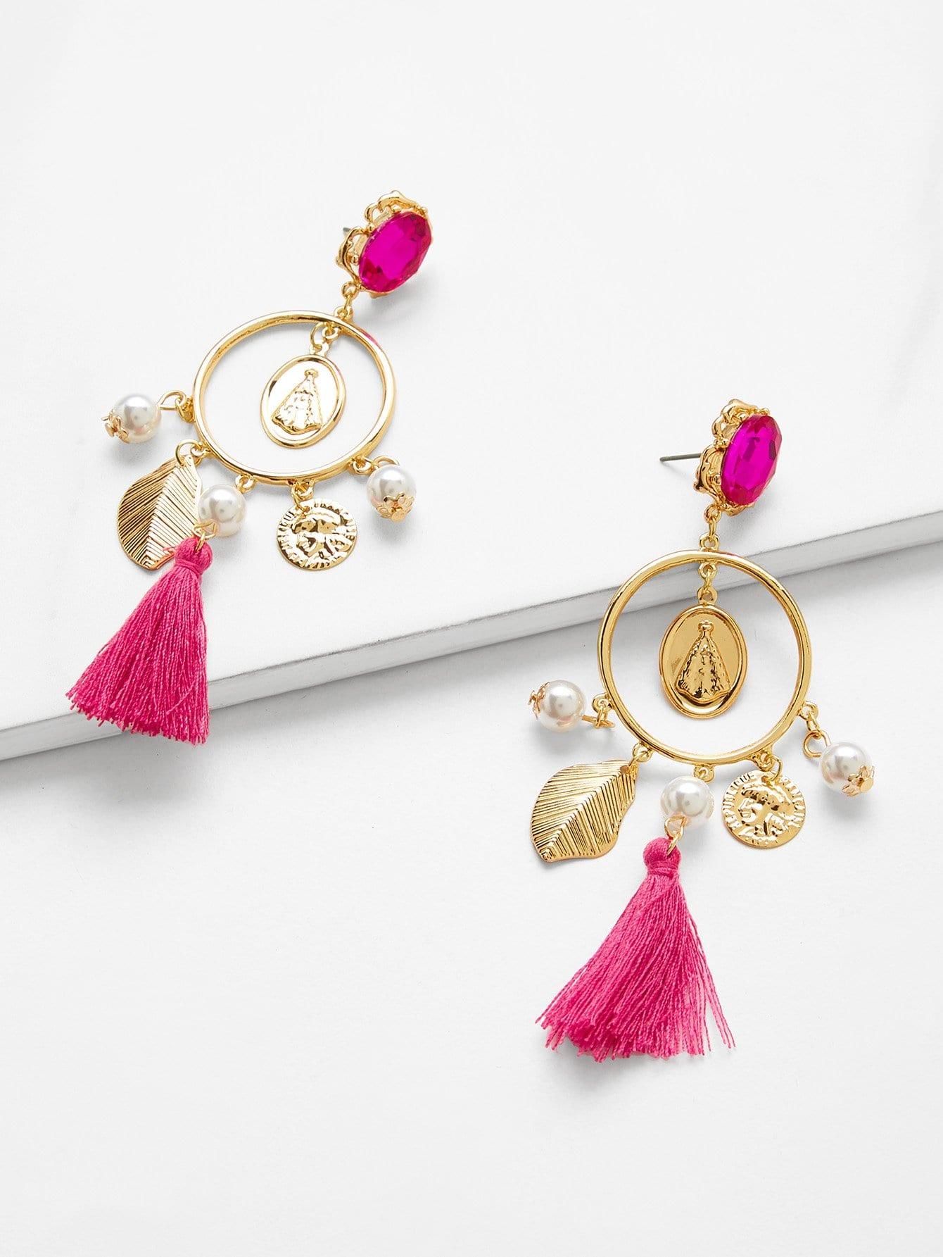 Leaf Detail Tassel Hoop Drop Earrings bow detail hoop drop earrings