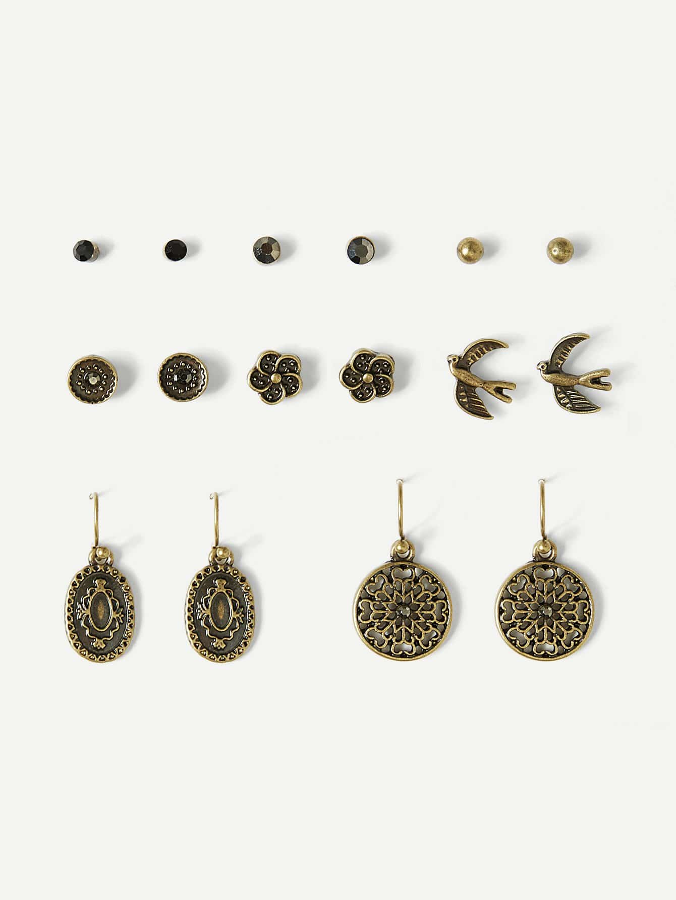Bird & Flower Detail Stud And Drop Earrings 8pairs
