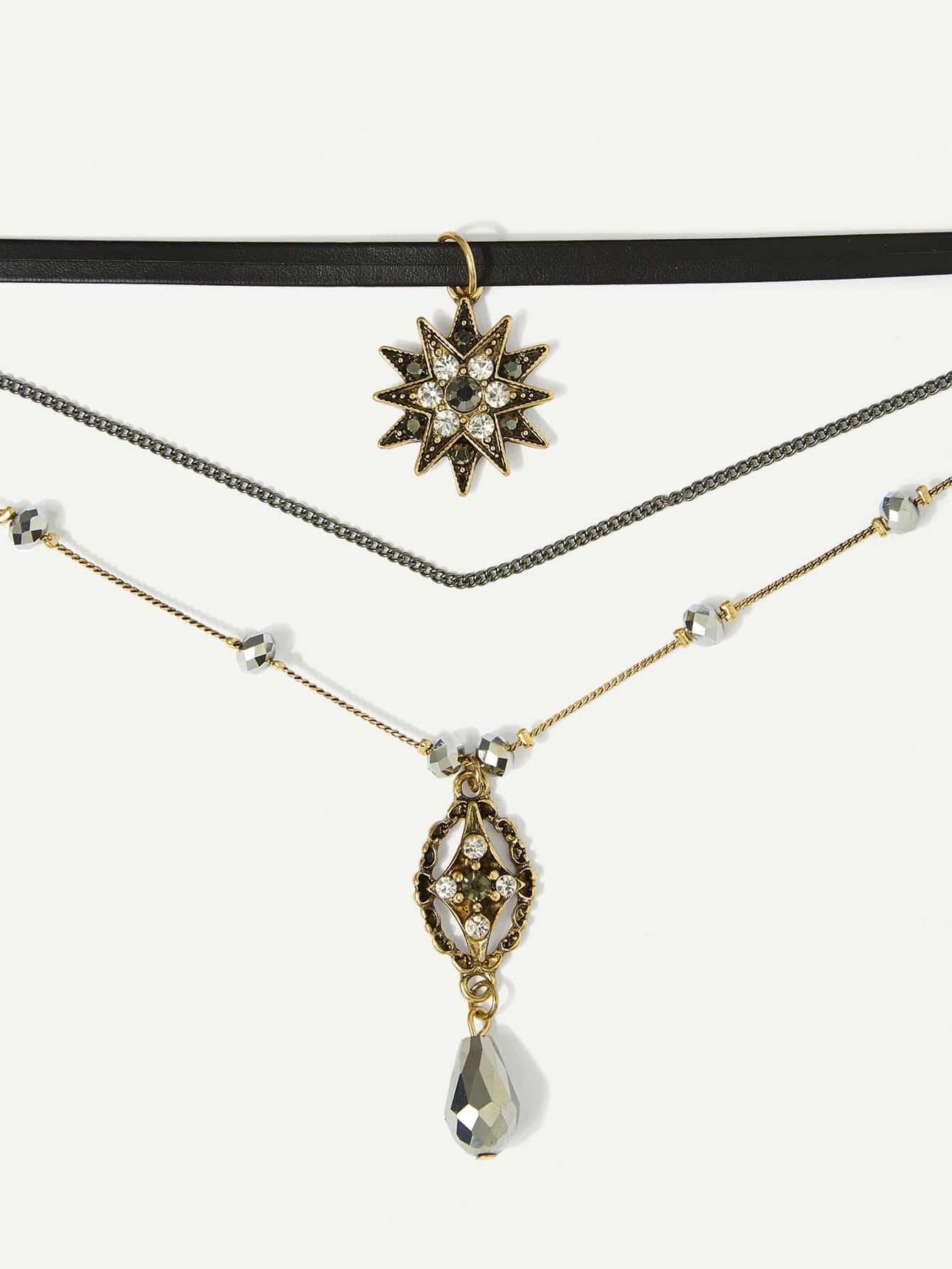 Rhinestone Decorated Pendant Necklace Set 3pcs hollow heart pendant necklace set 3pcs