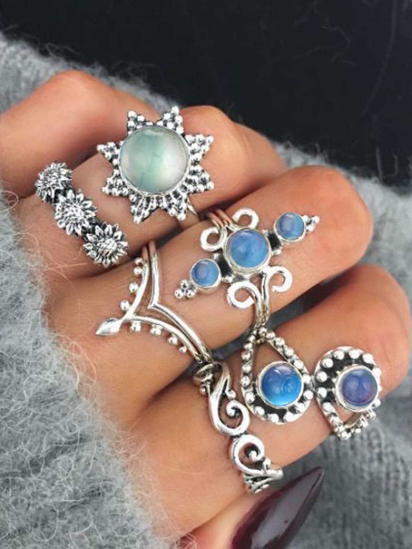 Gemstone Vintage Rings Set 6pcs