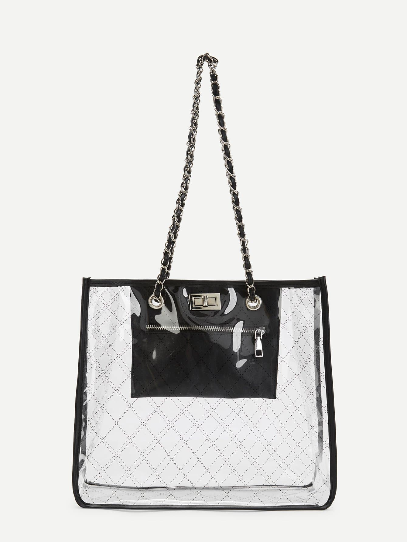 Фото - Quilted Tote Bag With Chain Handle sequin tote bag with double handle