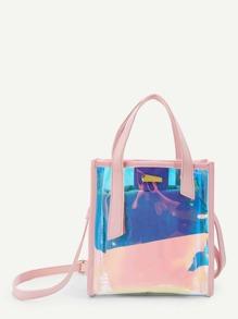Metal Detail Tote Bag With Convertible Strap