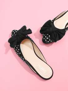 Bow Decorated Flat Mules With Rhinestone
