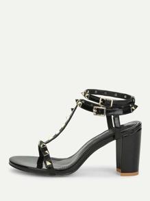 Rockstud Detail Block Heeled Sandals
