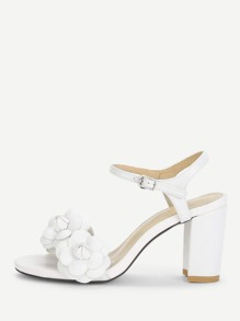 Flower Decorated Block Heeled Sandals