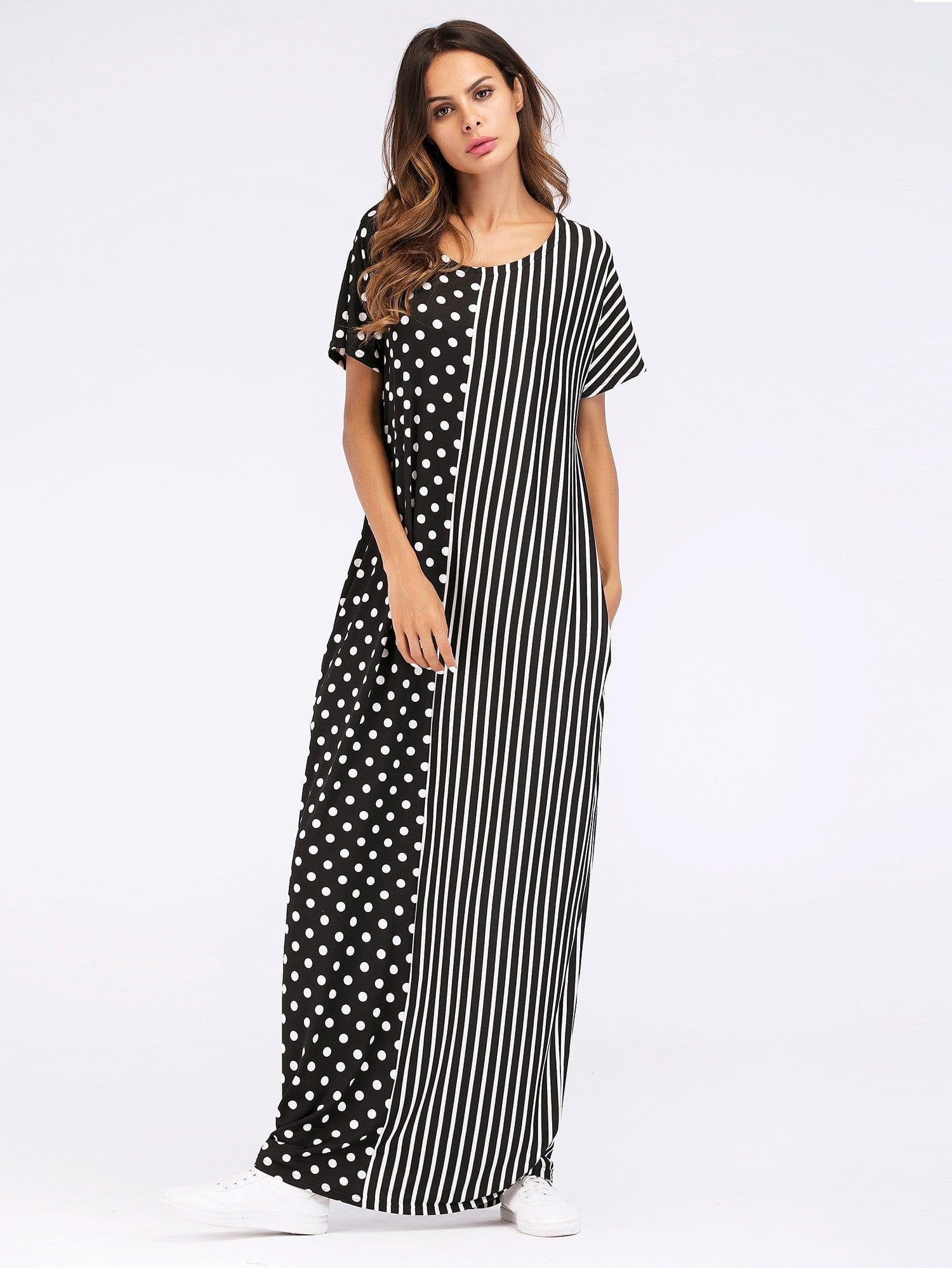 Stripe And Dot Print Contrast Longline Dress letter and stripe print glitter dress