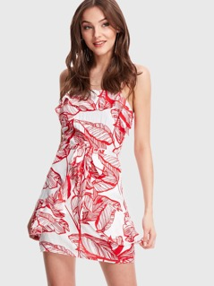 Leaf Print Ruffle Detail Dress