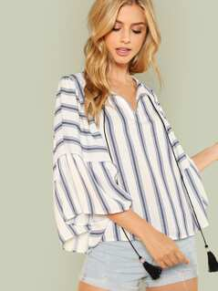 Exaggerated Bell Sleeve Striped Blouse
