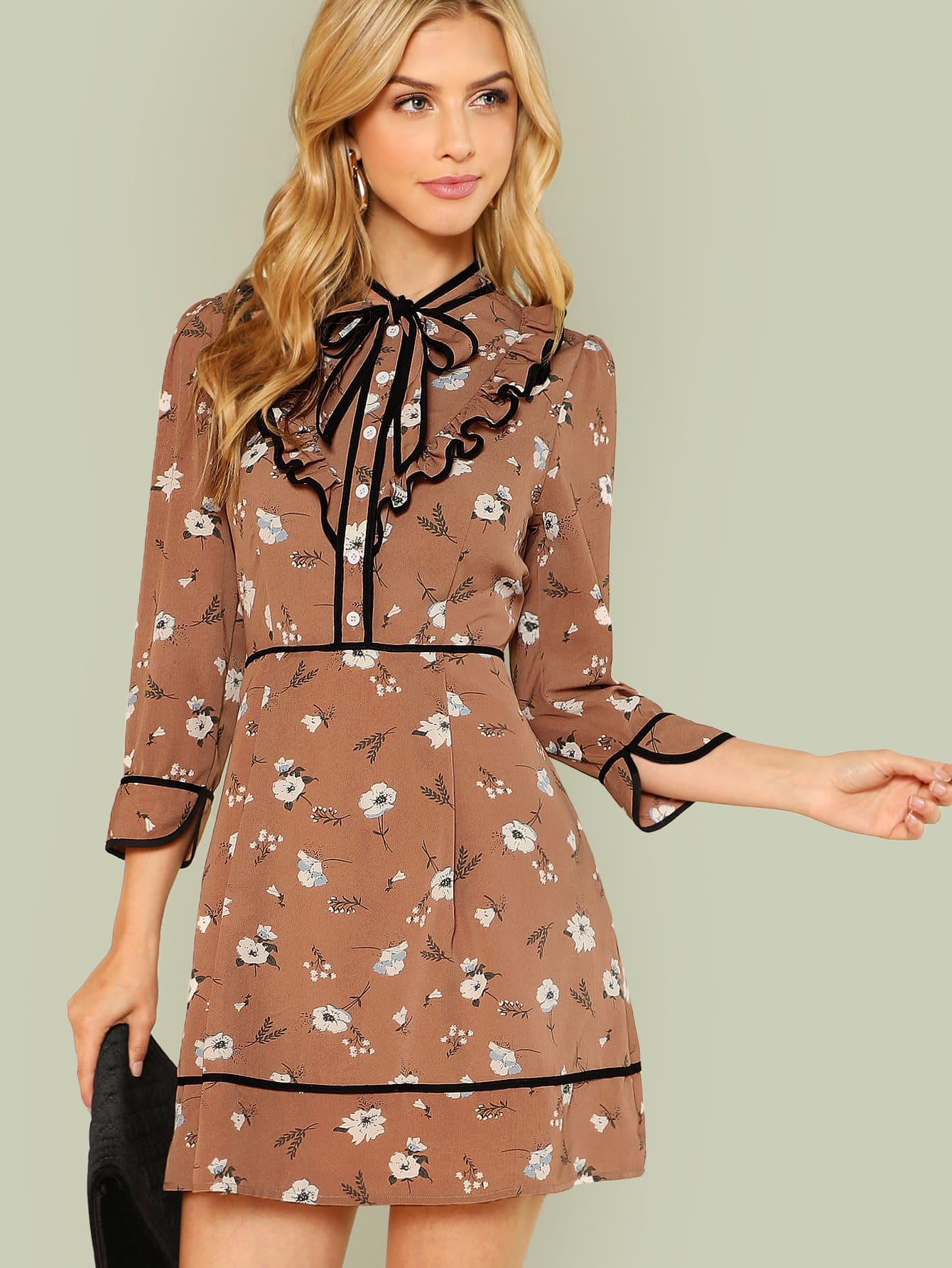 Contrast Binding Tie Neck Ditsy Dress contrast tie neck faux pocket tweed dress