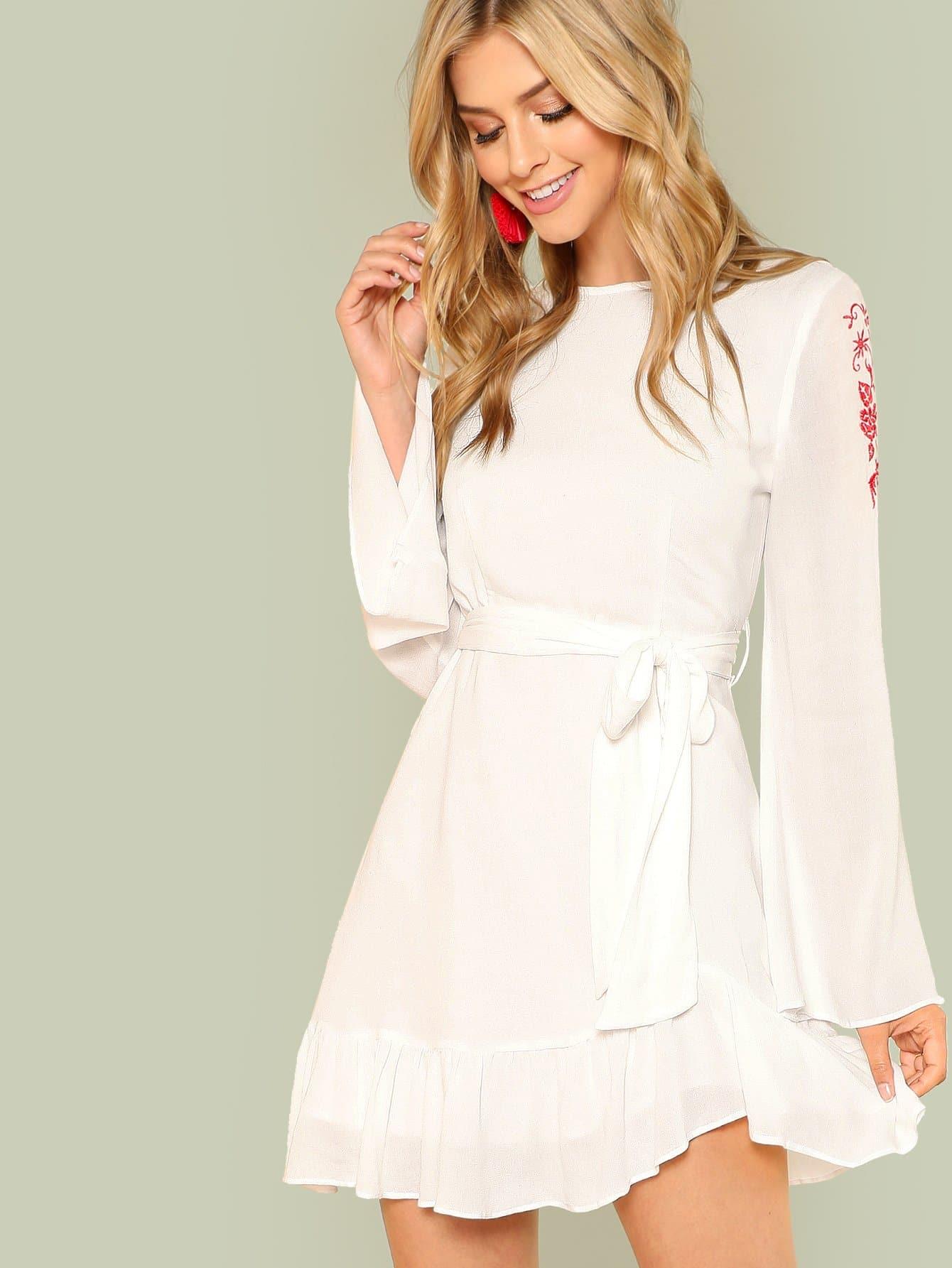 Ruffle Hem Embroidered Dress with Belt ruffle waist zip back scallop hem embroidered gingham skirt