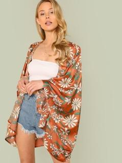 Open Front Flower Print Kimono