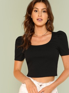 Knot Detail Crop Ribbed Tee