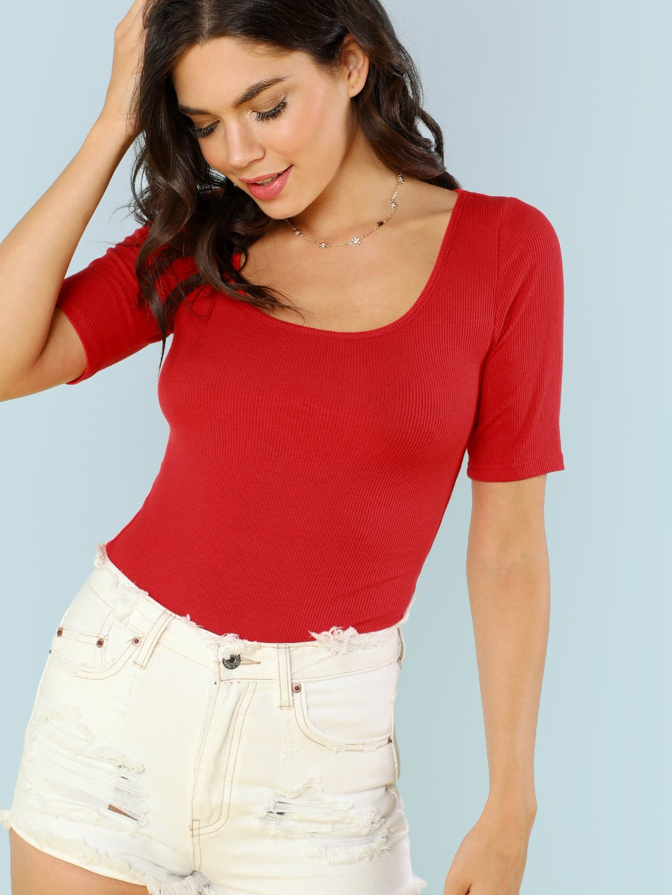 Scoop Neck Fitted Tee наматрасники candide наматрасник водонепроницаемый waterproof fitted sheet 60x120 см