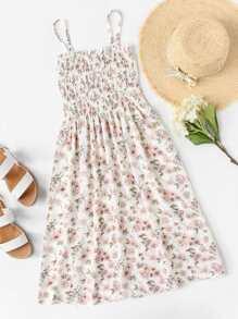 Ditsy Print Pleated Cami Dress