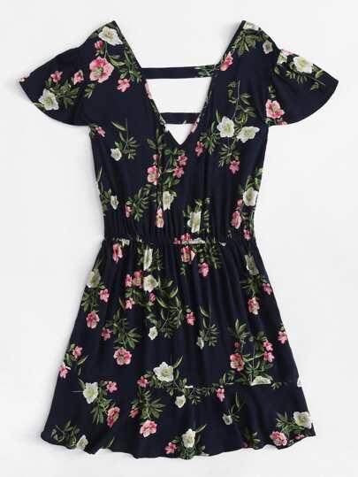 Romwe / Floral Print Surplice Dress