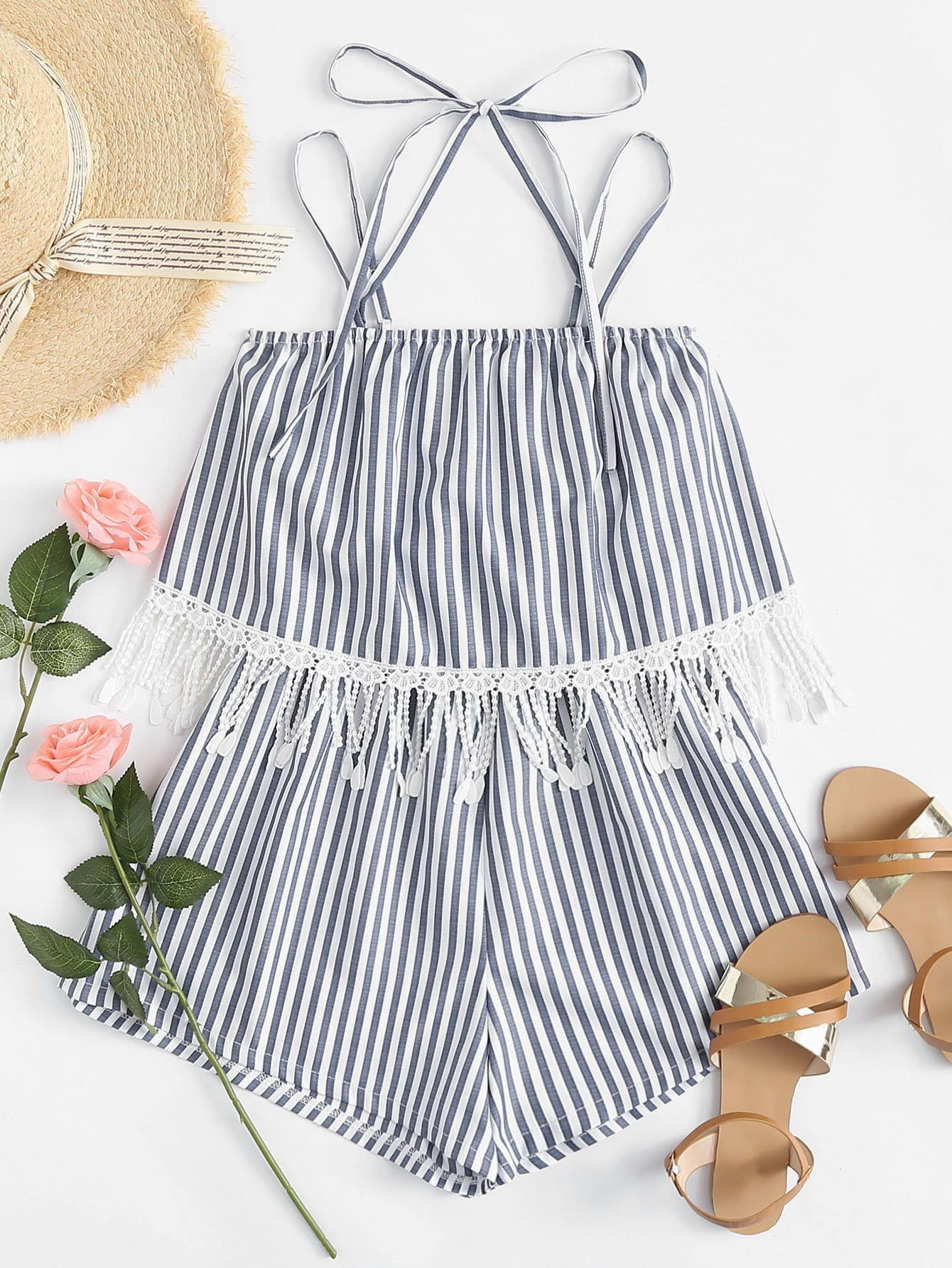 Contrast Lace Knot Striped Romper