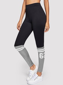 Color Block Varsity-Striped Leggings
