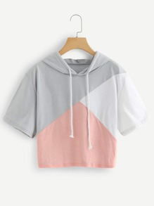 Color Block Hooded Crop Sweatshirt