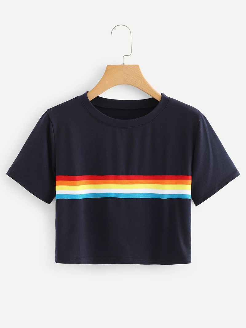 Colorful Striped Crop Tee by Romwe