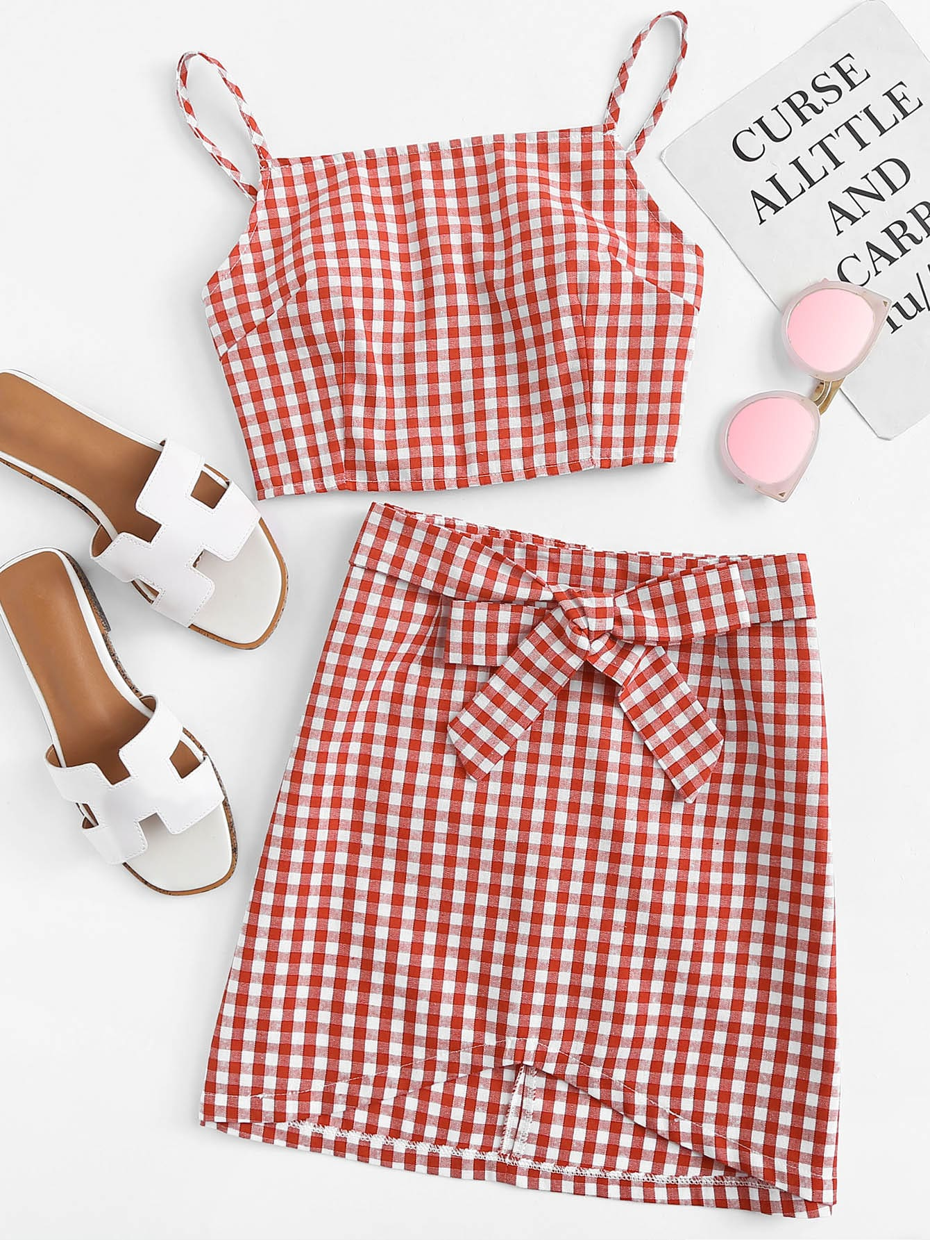 Gingham Cami With Tie Detail Skirt