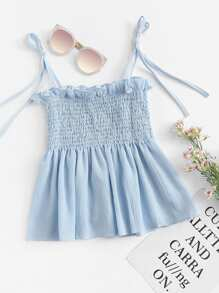 Frill Trim Pleated Cami Top