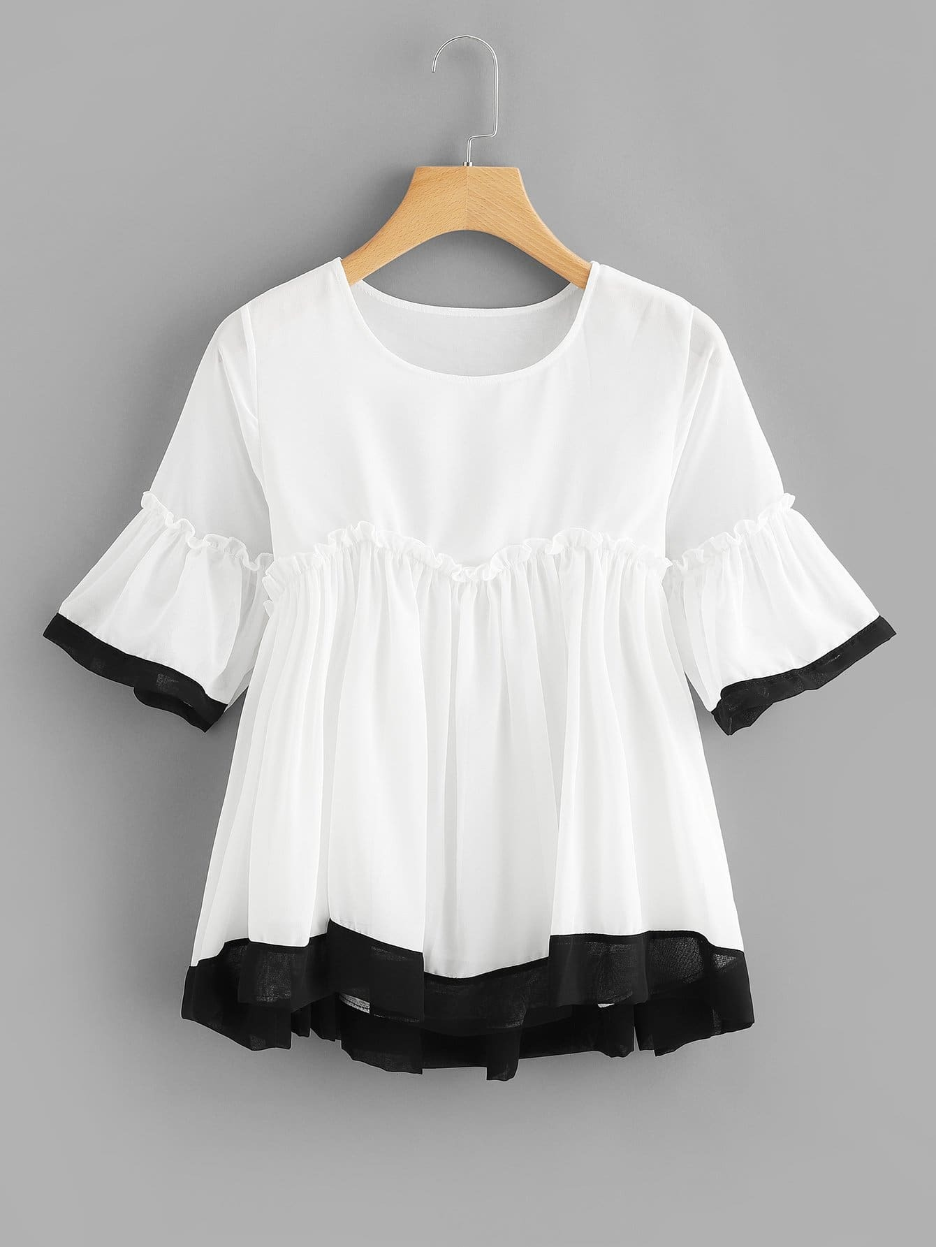 Ruffle Hem Chiffon Blouse stylish slim dress hem blouse