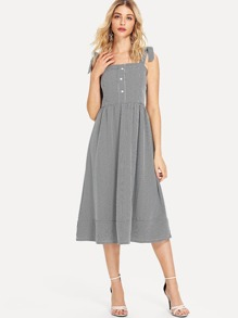 Self Tie Gingham Cami Dress