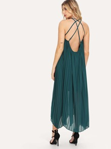 Strappy Pleated Chiffon Dress