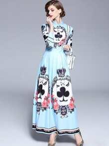 Graphic Print Flare Shirt Dress