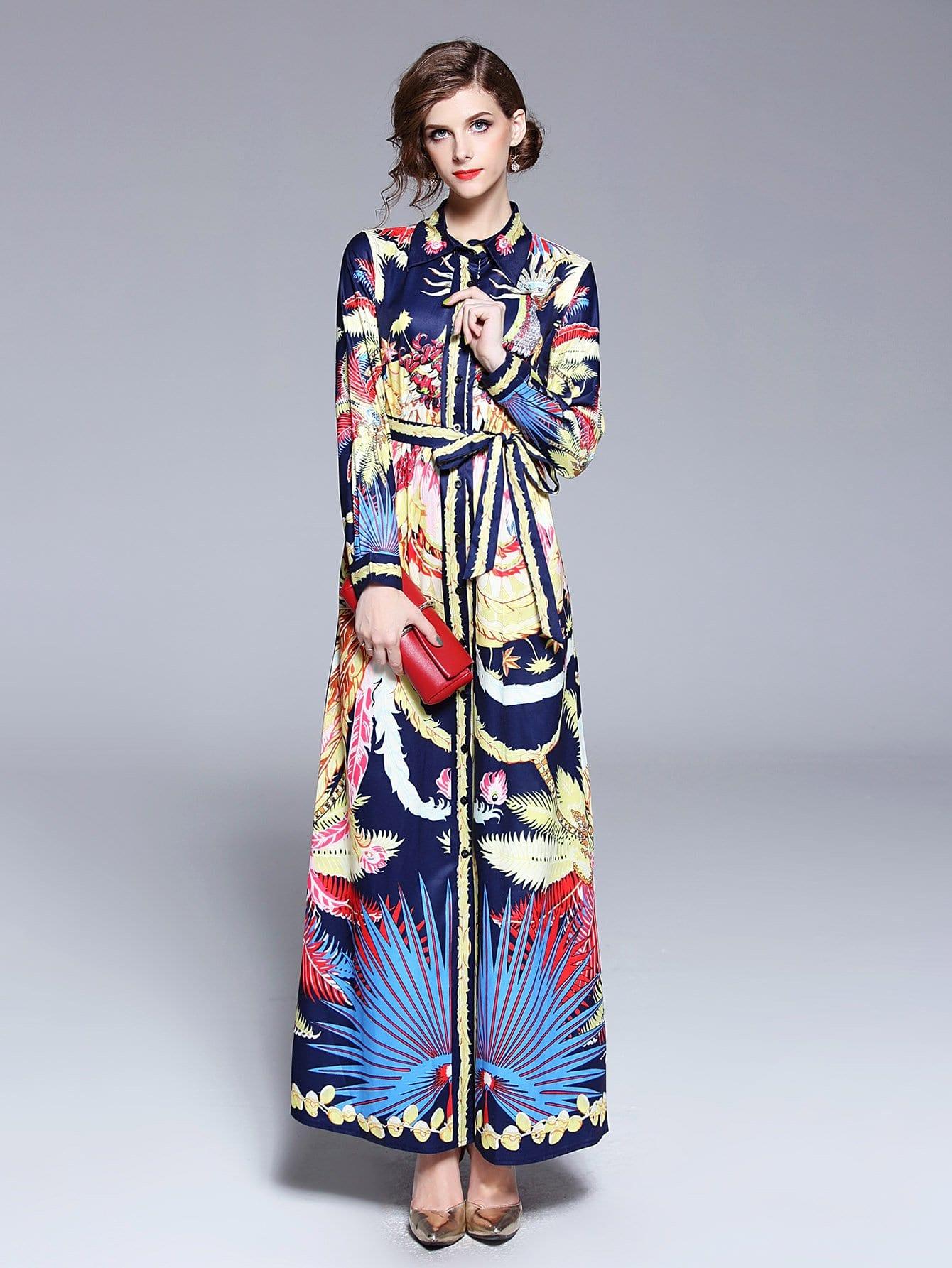Graphic Print Tie Waist Longline Shirt Dress flower print tie waist shirt dress