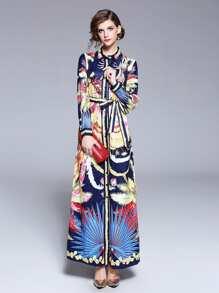 Graphic Print Tie Waist Longline Shirt Dress