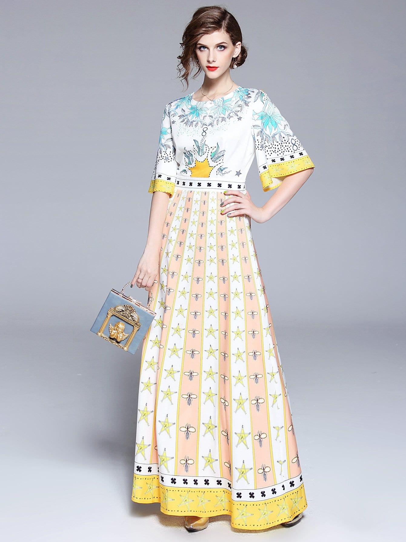 Купить Платье с коротким рукавом с коротким рукавом, null, SheIn