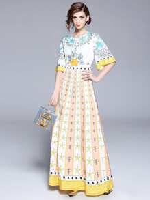 Bell Sleeve Graphic Print Longline Dress